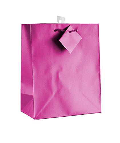 12-PC Solid Color Gift Bags, Matt Laminated, Hot Pink -