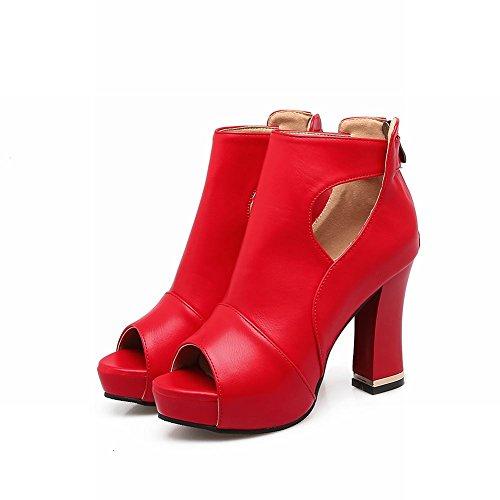 Charm Foot Moda Mujer Peep Toe Plataforma De Cremallera Superior Sandalias De Tacón Alto Rojo