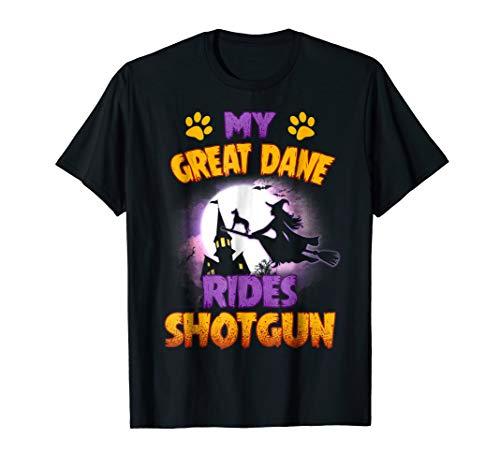 Great Dane Dog Rides Shotgun Costume Halloween T-Shirt