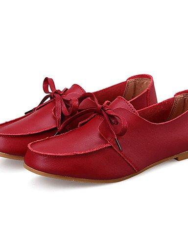 casual Giallo Njx Donna comfort Cn34 nero Tacco Eu35 us5 brogue Scarpe Red pelle Flat rosso Uk3 IrqBqwE8