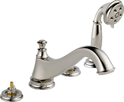 Delta T4795-PNLHP Cassidy Low Arc Roman Bathtub Faucet with Hand Shower Trim without Handles, Polished Nickel (Nickel Roman Tub Polished)