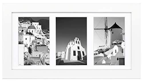 Golden State Art 7x14 White Picture Wood Collage Frame, For (3) 4x6 pictures, with White Mat & Real Glass ()