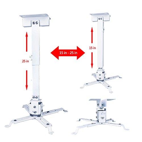 zwireless-universal-projector-ceiling-mount-bracket-white-height-adjustable-15-degree-tilt-swivel