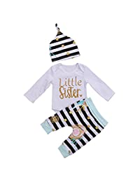 3Pcs Baby Girls Clothes Little Sister Long Sleeve Romper+Striped Long Pants+Hat