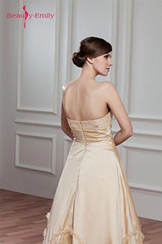 Kleid Perle Rüschen Emily Sweetheart Eveing trägerlos Beige Beauty xqtYE6w4