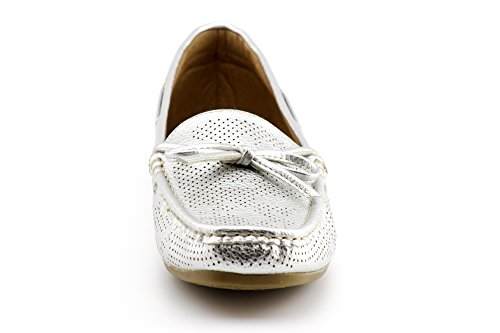 Women's KIKI Comfort on Tied Bow Breathable Silver Penny Loafers Slip Flats Shoes CALICO Moccassins Loafers Boat d5xEdSw
