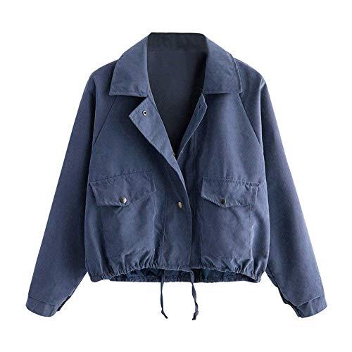 Chiusura Con Casuali Grazioso Manica Outerwear Giacca Tasche Primaverile Sciolto Stlie Donna Elegante Cappotto Blau Giaccone Autunno Di Moda Hipster Monocromo Bottoni Lunga qUfB6Unw