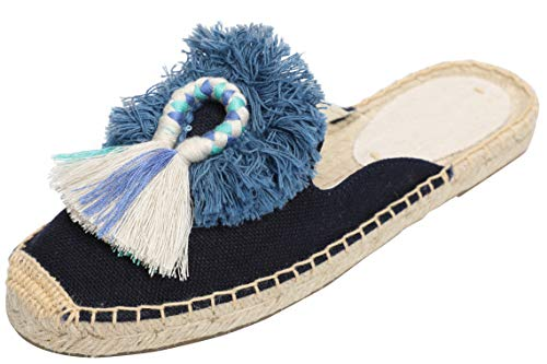 - U-lite Women's Comfort Tassel & Fluffy Ball Embellishment Canvas Mule Shoes Espadrilles Navy10
