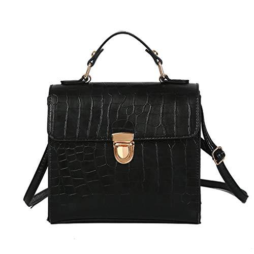 (Vintage Slim Messenger Crocodile Bags,Wild Shoulder Bag Messenger Genuine Cowhide Tote Bag for Women (Black))