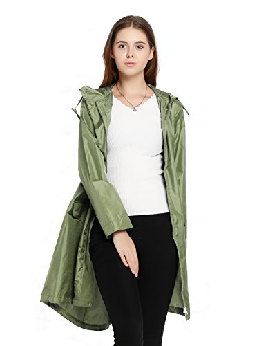 Spring Fever Womens Long Lightweight Raincoat Outdoor Hooded Packable Waterproof Rain Jacket Army Green M