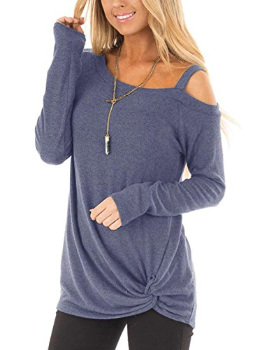 YOINS Women Tops Crossed Front Plain One Shoulder Loose fit Long Sleeves T-Shirt Dusty Blue S