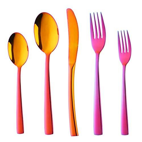 Buyer Star 20-Pieces Flatware Set, Rainbow Red Silverware Stainless Steel Reusable Wedding Dinnerware Cutlery Set (rainbow red) (Silverware Caddy Red)