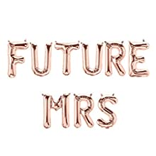"""Future MRS 16"""" Letter Balloons Rose Gold Silver Banner Bride to be Sign Miss to Mrs Engagement Bachelorette Shower Party"""