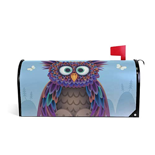 ALAZA Cute Owl On Meadow Magnetic Mailbox Cover Standard Size-18