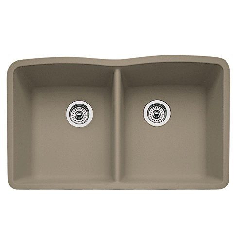 Blanco Diamond 441286 Equal Bowl SILGRANIT 80% Granite Double Kitchen Sink, Truffle, 32'' x 19-1/4'' x 9-1/2'',