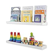 Nursery Room Décor Kid's Room Floating Wall Shelves Book Tray Toy Storage Display by 31 Inch Set of 2 White