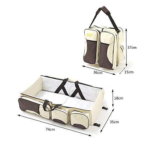 Yoolove 3 in 1 Portable Diaper Bag,Travel Bed,Travel Bassinet,Foldable Changing Station,Baby Travel Crib with Storage Pockets (creamy-white) by Yoolove (Image #1)
