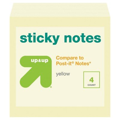 Sticky Notes Cube 3'' x 3'' 4ct Yellow (Compare to Post-it174; Notes) - up & up153; Yellow