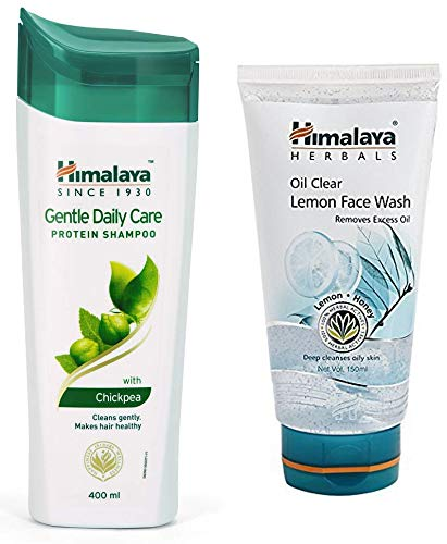 Himalaya Herbals Protein Shampoo, Gentle Daily Care, 400ml & Oil Clear Lemon Face Wash, 150ml Combo
