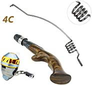 Emmrod Pocket Rod Combo Stainless Steel Ebony Handle Spincasting Combo Coiled Sniper Spincast Rod Combo with C