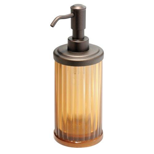 InterDesign Alston Soap Dispenser Pump for Body Moisturizer, Liquid Hand Soap, Sanitizer or Aromatherapy Lotion - Amber/Bronze
