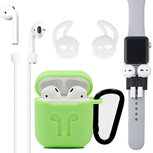Airpods Case, [Airpods Accessories Set][Airpods Ear Hook][Airpods Watch Band Holder][Airpods Keychain][Airpods Strap][Silicone Cover] Best Kit [XCITING] for Apple AirPods Charging (Green Kit)