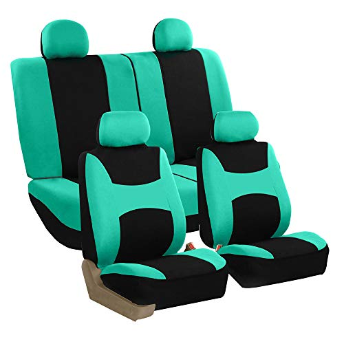 Ford Halloween Car Wash (FH Group Stylish Cloth Full Set Car Seat Covers (Airbag & Split Ready), Mint/Black Color- Fit Most Car, Truck, SUV, or)