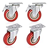 Moogiitools 4'' Swivel Rubber Caster Wheels with Safety Dual Locking Heavy Duty 1200lbs Casters Set of 4 (Half with Brake)