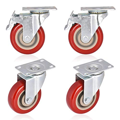 Moogiitools 4 Swivel Rubber Caster Wheels with Safety Dual Locking Heavy Duty 1200lbs Casters Set of 4 (Half with Brake)