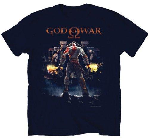 God Of War II Cover Art Kratos Video Game Adult Tall Long T-Shirt (Cover Art T-shirt)