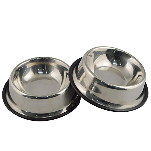 (Mlife Stainless Steel Dog Bowl with Rubber Base for Small Dogs, Pets Feeder Bowl and Water Bowl Perfect Choice (Set of 2) S)