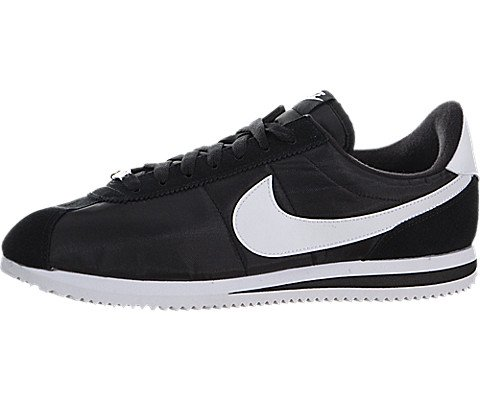 Nike Men's Cortez Basic Nylon Black/White/Metallic Silver Casual Shoe 10 (White Nike Cortez Mens)