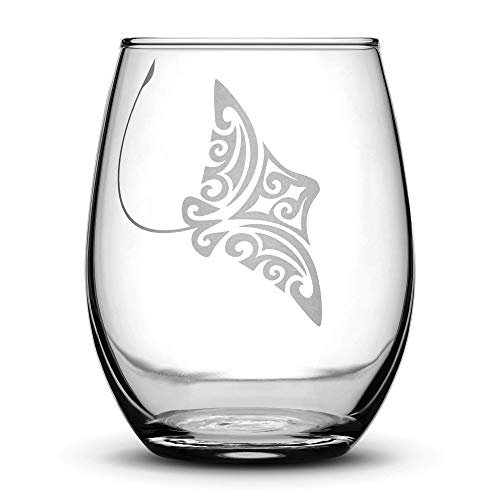 Eagle Ray Stemless Wine Glass, Tribal Stingray Design, Hand Etched 14.2 oz Unique Gifts, Made in USA, Sand Carved by Integrity Bottles (Eagle Ray Stingray)