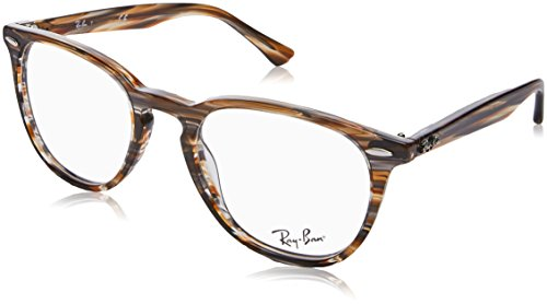 Ray-Ban RX7159 Square Eyeglass Frames, Brown Grey Striped/Demo Lens, 50 ()