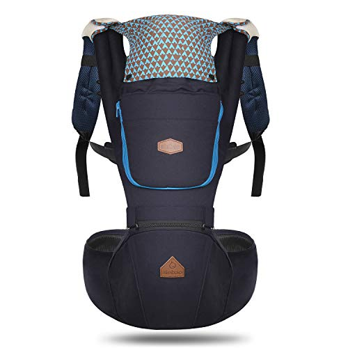 360 Ergonomic Baby Carrier with Hip Seat - AIEBAO Baby Backpack Carrier for Men Baby Carriers Front and Back(3-36 Months,Navy) from AIEBAO
