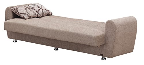 """BEYAN Colorado Collection Modern Convertible Folding Sofa Bed with Storage Space, Includes 2 Pillows, Light Brown - FUNCTIONAL DESIGN  & PRACTICAL USE: The Folding Convertible Sofa Bed Measures 87""""L X 31""""D X 30""""H And When Folded; The Sofa Bed Expands To 45"""" X 75"""" Arrives with Only Minimal Assembly Required SIT, STORE & SLEEP: Comfortably Seating Three, the Convertible Sofa Bed Folds Into a Fully Flat Position Without Any Hassle Thanks to Click-Clack Technology. The Storage Space Can Be Found Underneath the Seats. STURDY CONSTRUCTION: Made From Strong Wood and Upholstered with Chenille Fabric, the Convertible Sofa Bed Also Features Coil Spring Foam and Metal Constructions Creating a Long Lasting Sofa Bed - sofas-couches, living-room-furniture, living-room - 41Zb4f8IZ1L -"""