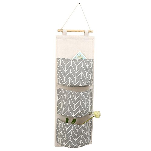 Loweryeah Linen Fabric Wall Hanging Storage Bag Door Closet Books Home Organizer for Office Bedroom Kitchen with 3 Pockets