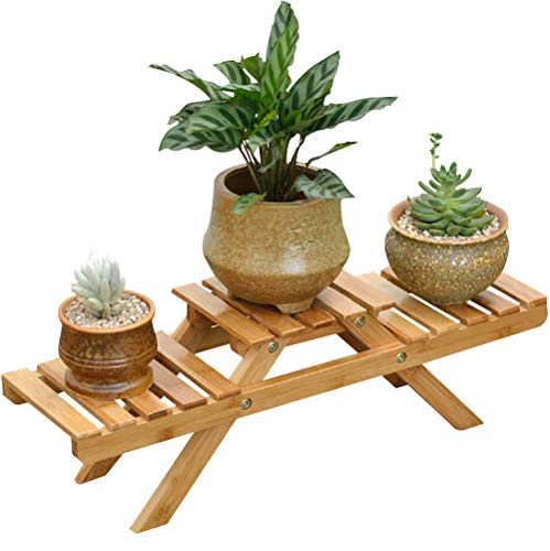 Two Tier Flower Planter - Suncaya Garden Bamboo Flower Pot Display Shelf Rack, Flower Planter Shelf With 2 Tiers, Flower Pot Stand for Indoor Outdoor Home Office Patio Balcony, (Product Including Flower Shelf Rack Only), SG-HP