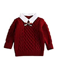 MIQI Little Boys' Girls' Cable-knit Turtleneck Preppy Winter Sweaters
