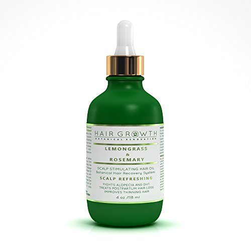 Hair Growth Lemongrass-Rosemary Lab Formulated Botanical Hair Recovery System Anti-DHT/Alopecia Organic 4 Oz
