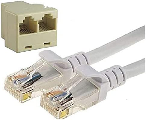 Tgomtech Rj45 LAN Network Cable with Rj45 CAT 5 Connector Adapter Pc Socket New 50FT, Grey