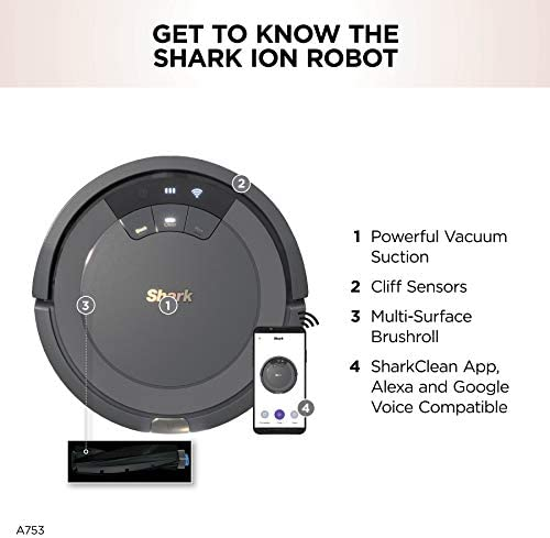 Shark ION Robot Vacuum AV753, Wi Fi Connected, 120min Runtime, Works with Alexa, Multi Surface Cleaning