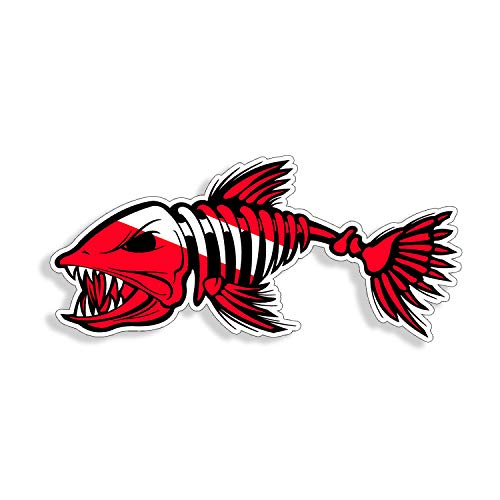 Diver Down Bone Fish Sticker - Scuba Diving Red White Flag Dive Die Cut Design Graphic