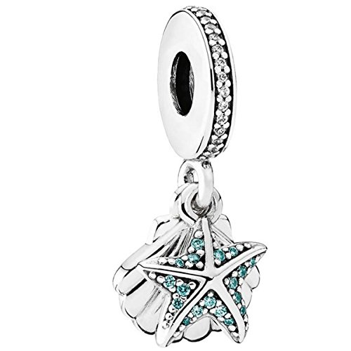 PANDORA Tropical Starfish & Sea Shell Dangle Charm, Sterling Silver, Frosty Mint & Clear Cubic...