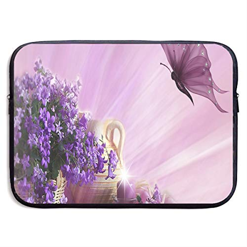 Butterfly Clipart - Laptop Bag Purple Flower Clipart Butterfly Inspiring Tablet Computer Bag Fits 13 Inch or 15 Inch for Easter