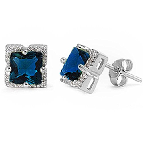 Elegant Princess Cut Blue Simulated Sapphire .925 Sterling Silver Earring SEC5138 ()