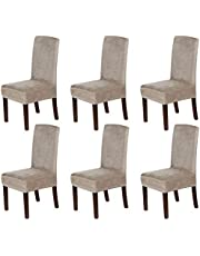 Stretch Velvet Dining Chair Covers Set of 6 Chair Covers for Dining Room Parsons Chair Slipcover Chair Protectors Covers Dining, Feature Thick Soft Velvet Fabric, Taupe (VIC 3131)
