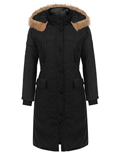 Elesol Women's Black Best Winter Coat Mid Length Parka Coat Black/M