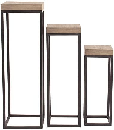 Howard Elliott Wood and Metal Pedestals