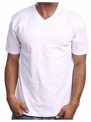 (90210 Wholesale Men's Heavy Weight V-Neck T-Shirt Lot Blank Plain Tee Basic Big & Comfy Camo S-5X (White, L))
